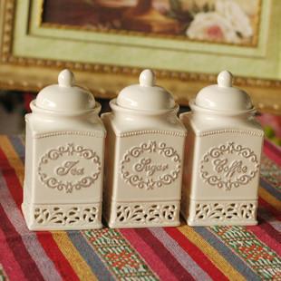 家居厨房用品 欧式雕花白色密封罐 储物罐 调味瓶 三件套 批发
