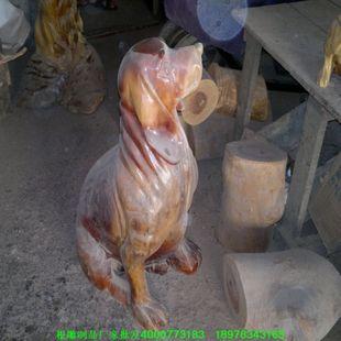 批发老香樟木雕狗小型动物系列