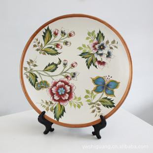 美式乡村风格装修手绘装饰盘桌面摆件陶瓷圆盘工艺礼品