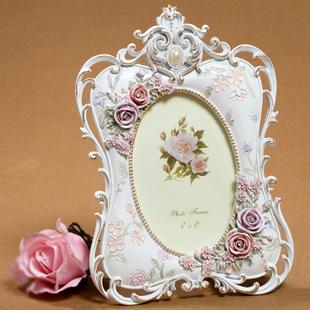 家居装饰白色回忆单面6寸相框欧式田园树脂相框相