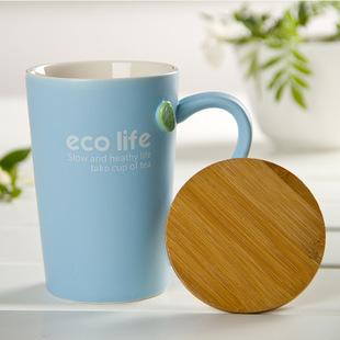 小清新绿叶哑光陶瓷杯子/情侣水杯/咖啡杯/马克杯