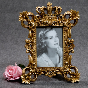 欧式奢华古典复古宫廷相框树脂皇冠像框银色雕花树脂