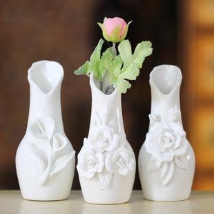 创意zakka花器欧式现代时尚陶瓷小花瓶雕花摆件客厅家居装饰品