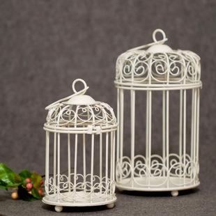 时光屋白色花笼铁艺烛台韩式悬挂烛台欧式公主烛台一套