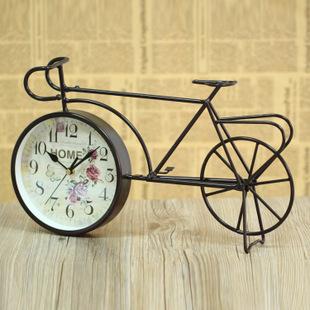 欧式复古铁艺座钟怀旧自行车台钟美式家居摆设装饰品