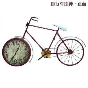 欧式古典复古创意艺术自行车型挂钟表家居墙面装饰