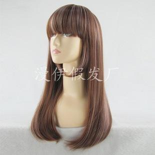 原宿日韩风棕粉挑染中长发混批厂家直销一件代发wig