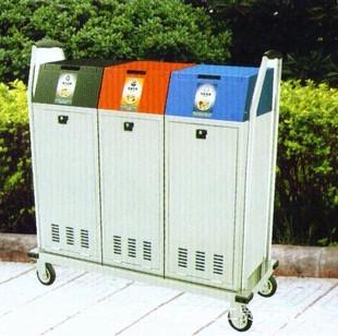 三联箱可爱垃圾桶移动式果皮箱典型分类垃圾箱冲孔果皮箱