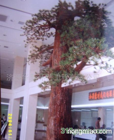 手绘柱子画大树