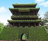 城楼造型、五色草雕塑、植物绿雕