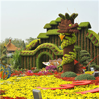 五色草造型,龙柱造型,节日花卉造型