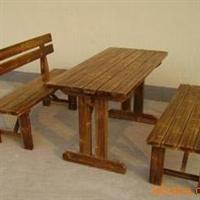 (热销)供应订做上海碳化木桌椅 实木休闲桌椅 户外家具