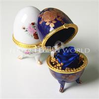 保鲜玫瑰花 青花瓷彩蛋 彩蛋盒子 婚庆、情人节、七夕礼物