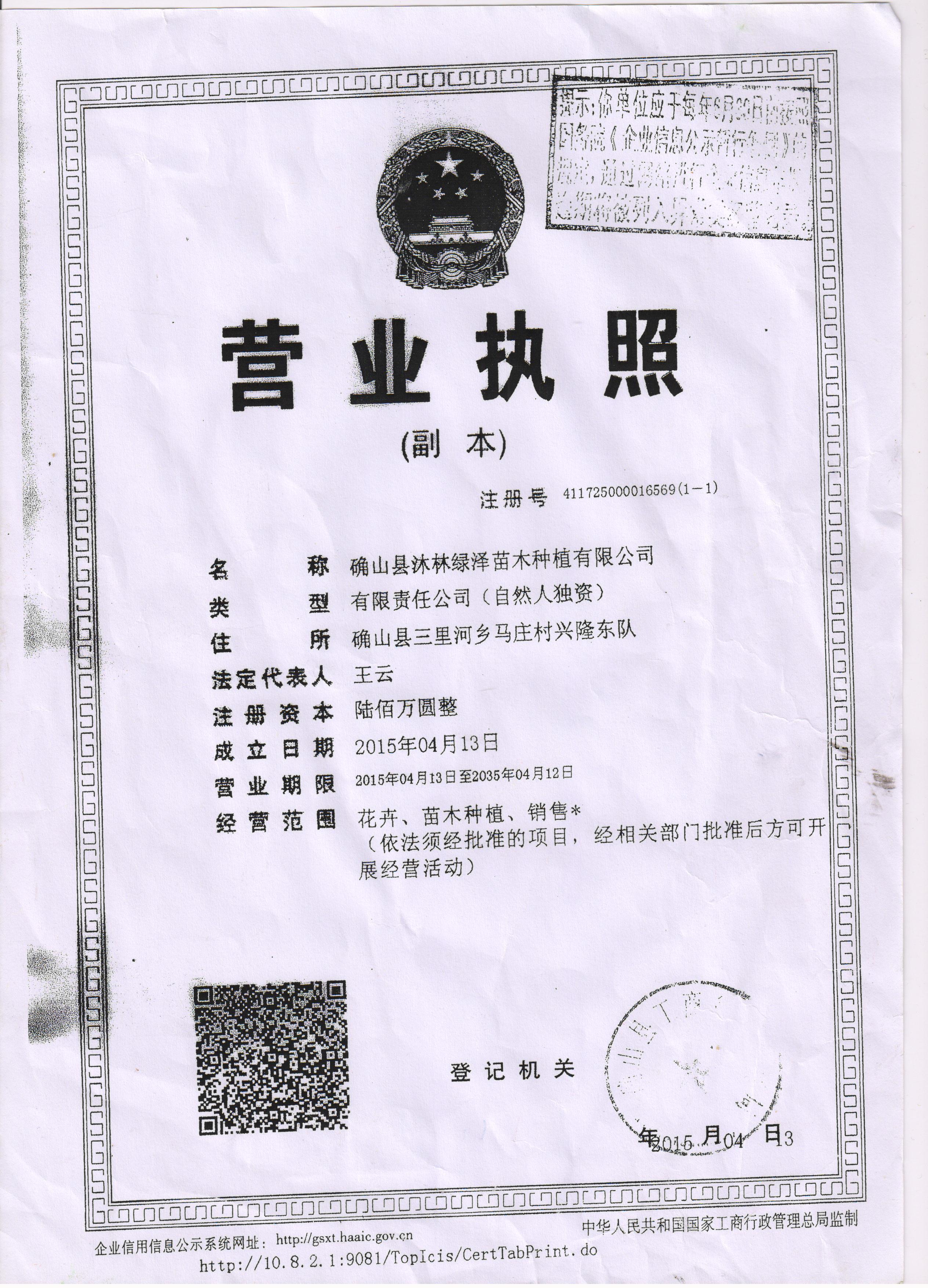 确山县沐林绿泽苗木种植有限公司