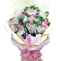 宁德丁香鲜花店 蕉城区实体店 11枝 戴安娜 粉玫瑰 生日花束 N083