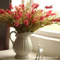 餐桌仿真花套装 超美推荐  白色浮雕陶瓷花瓶+10支橡皮花风信子