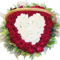 宁德丁香花店 99朵 混搭 玫瑰花篮 心心相印 情人节鲜花速递 N026