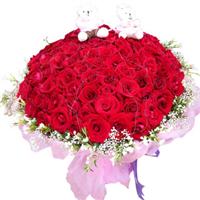 宁德丁香花店 99朵红玫瑰+2只小熊 白色情人节 生日鲜花预定 N029