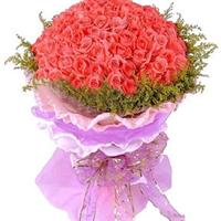 宁德丁香花店 99朵 粉玫瑰 白色情人节 圣诞节 生日鲜花速递 N087