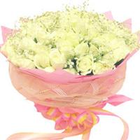 宁德花店 宁德鲜花 66枝白玫瑰 白色情人节 圣诞节 生日花束 N165