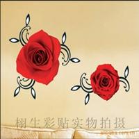 阿里巴巴最低价装饰组合贴、DIY墙贴、红色玫瑰(货号:TC-2109