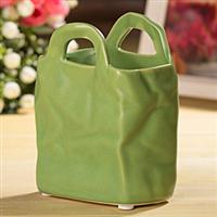 不规则手袋小花瓶小花盆花器绿色小号陶瓷小花瓶批发