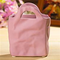 不规则手袋小花盆花器粉色小号陶瓷工艺花瓶批发