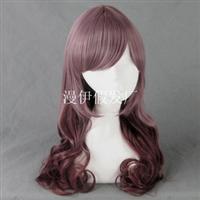 cosplay假发原宿日系紫芋棕卷发假发厂家直销代发wig
