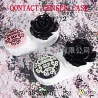 CB0772黑玫瑰圆盘手工装饰美瞳镜片护理隐形眼镜双联盒子