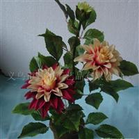 供应45cm高3头大丽花盆景、大丽花、仿真花